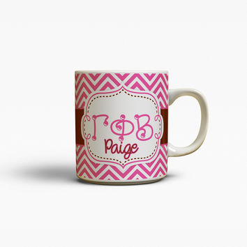 GAMMA PHI BETA - THIN PINK CHEVRON WITH BROWN - GPB COFFEE MUG
