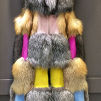 Akie Patches Mink and Fox Fur Vest