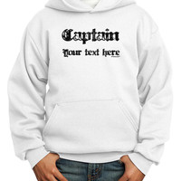 Personalized Captain Youth Hoodie Pullover Sweatshirt