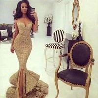 Bling Gold Sequins Mermaid Prom Gowns V-Neck Spaghetti Strap Floor-Length Ruffles Evening Gowns Pageant Dress Formal Custom Made