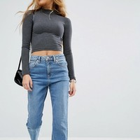 ASOS PETITE Crop Top with Long Sleeves and Turtle Neck at asos.com