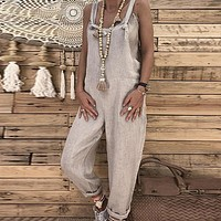 Casual Beach Jumpsuit Women Feminino Jumpsuit Wide Leg Long Jumpsuit Rompers