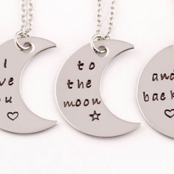 Mother Daughter Jewelry | Love You To the Moon and Back | 3 Piece Necklace Set | Mother Daughter Gift |Mothers Day Gift | Gift For Mom