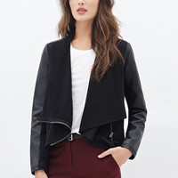 Black Drapey Zip Faux Leather Jacket