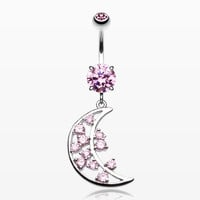 zzz-Twinkling Moon Belly Button Ring