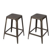 Set of 2 Bronze Finish 24-Inch Metal Counter Stools