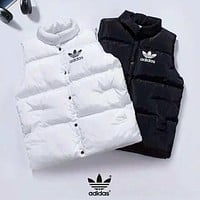 Adidas New fashion bust and back letter leaf print keep warm vest top down coat