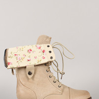 Wild Diva Lounge Jetta-25R Floarl Cuff Military Lace Up Boot