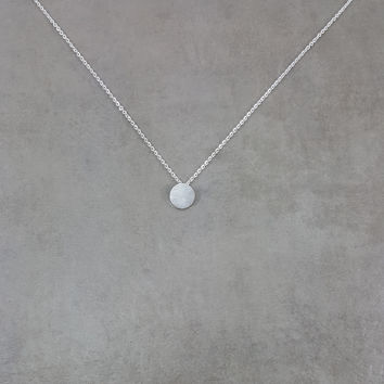 Circle Disc Tag Silver Necklace