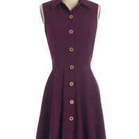 ModCloth Nifty Nerd Mid-length Sleeveless A-line Swing Vote Dress in Acai