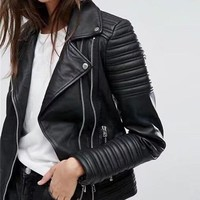 Women's Leather Jacket Spring Autumn Full Sleeve Motor Jackets Black Color Quilted  Leather Coat pu0020