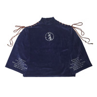 SHOE LACE VELVET TOPS -NAVY- - M.Y.O.B NYC ONLINE STORE