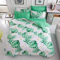 Cool Cartoon white green leaf bedding sets plant twin full queen king size duvet cover bed sheet pillowcase new fashion bedclothesAT_93_12
