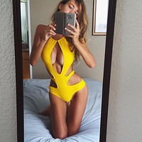 Fashion Seaside Swimsuit Bikini Splice Backless One Piece Swimsuit Swimwear