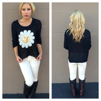 Sequin Daisy Knit Sweater