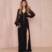 Black Deep V Bishop Sleeve Chiffon Maxi Dress with Slit