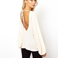 ASOS | ASOS Top with Oversized Batwing Sleeve and Open Back at ASOS