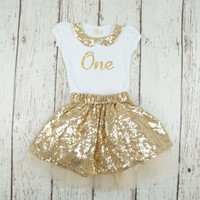 Gold birthday outfit, first birthday outfit, girl 1st birthday outfit, gold skirt, 1st birthday outfit, second birthday outfit, gold shirt