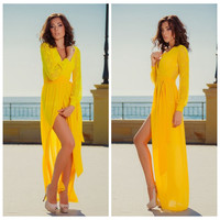 Cuff Sleeve Sheath Asymmetric Maxi Dress