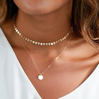 2017 New Simple Vintage Copper Sequins Double Layer Pendant Choker Necklace for Women Girls Chocker Collar Jewelry Gift