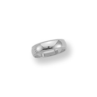 (Lifetime Guarantee)  14k White Gold, Domed Milgrain Traditional Fit, 1.3mm thick, 6mm wide: Size 4