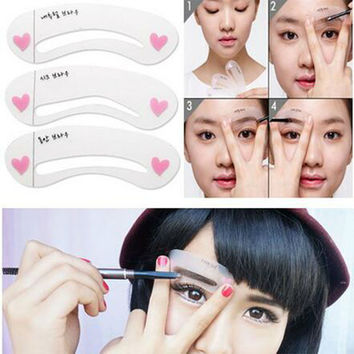 3 styles/set Grooming Brow Painted Model Stencil Kit Shaping DIY Beauty Eyebrow Model Template Make Up Eyebrow Styling Tool