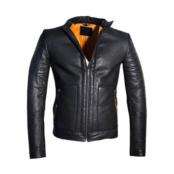 Men's Real Leather Bonded with Faux Mink Motorcycle Jacket -Hot seller
