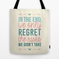 Risks Quote Tote Bag by Ashley Hillman