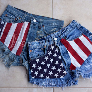 American flag shorts Levi high waisted denim shorts by Jeansonly