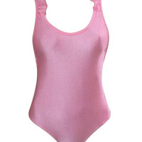Pink Frill Embellished Strappy Open Back Swimsuit
