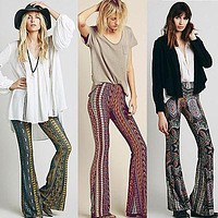 2017 Newly Hot Sale Boho Vintage Pants Bell Bottom Wide Leg Pants Trousers Paisley Print Stretch Flare Boho Hippie Style Pants