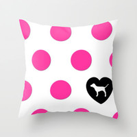 Polka Love Throw Pillow by Pink Berry Pattern