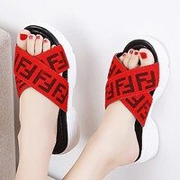 Fendi Fashion New More Letter Thick Bottom Shoes Slippers Flip Flop Women Red