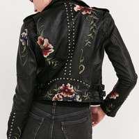 BLANKNYC As You Wish Floral Embroidered Moto Jacket   Urban Outfitters