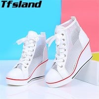 Women Wedge Mesh Breathable Shoes Sexy Female Height Increasing Shoes Lace Up Elevator High Heels Sandals Walking Shoes Sneakers