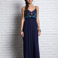 Embroidered Flowers Maxi Dress - Navy