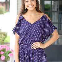 Attracting Attention Romper - Navy
