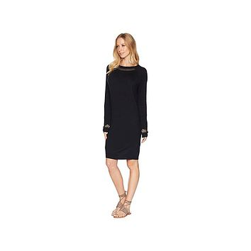 ROXY Womens Black Dolman Sleeve Jewel Neck Below the Knee Shift Dress Juniors Size: XS