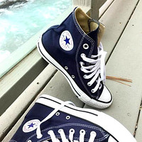 """""""Converse"""" Fashion Canvas Flats Sneakers Sport Shoes High tops Navy blue"""