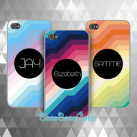 Personalized custom name, Colorful galaxy rainbow striped case for iPhone 6, Samsung S5/Note4, Sony, LG Nexus, Nokia Lumia, HTC One, Moto (E18)