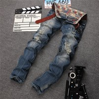 Strong Character Ripped Holes Jeans Straight Jeans [6541740227]