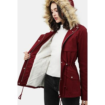 Cozy Sherpa Lined Faux Fur Hooded Jacket with Pockets