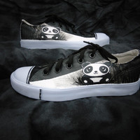 Panda Bear Hand Painted Canvas Lace Up Shoes