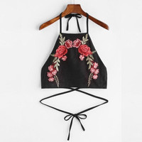 Sexy Halter Neck Bandage Crop Tops Women Flower Embroidery Backless Fashion Tank Top  Short Camisole #23 SM6