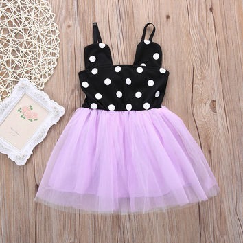 2016 Baby Girls Dress Minnie Mouse Polka Dots Dress Kids Party Tulle Dresses