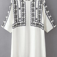 White Floral Embroidery Shirt Dress