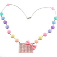 Fairy Kei Necklace with Transparent Pink Chocolate & Star Glitter with Candy Acrylic Beads