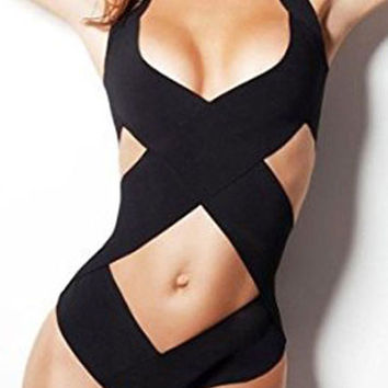 Black Cut-Outs Push Up Halter Monokini
