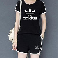 ADIDAS Women Casual Multicolor Print Shorts Gym Set Two-Piece Sportswear