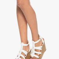 White Sky High Gladiator Wedge Sandals | $13.50 | Cheap Trendy Wedges Chic Discount Fashion for Wome